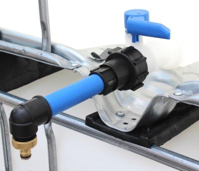 Anschluss S60x6 IG mit Rohr und 90° Bogen auf Gardena-Kupplung