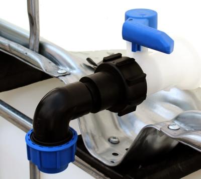 Anschluss-Stutzen S60x6 IG mit 90° Bogen u. Klemmverbinder (32mm)