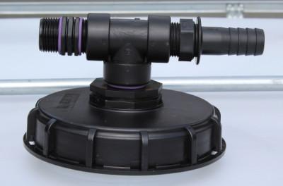 """IBC Deckel NW150 mit T-Stück mit 1"""" (25mm) Schlauchtülle und 1"""" (32mm) AG"""