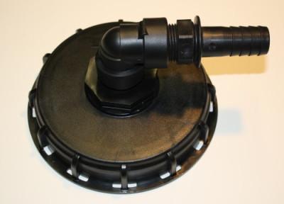 IBC Deckel NW225 mit 90° Bogen auf 1 Zoll Schlauchtülle