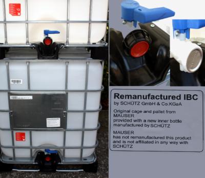 IBC 1000-150/50 - natur <br>CROSSBOTTLED auf Kunststoffpalette<br>alles NEU, ausser Korb