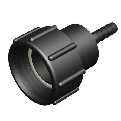 S60x6 IG auf  1/2 Zoll Schlauchtülle (12,5mm) mit Überwurfmutter (2T)